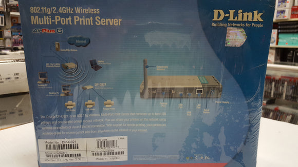 D-Link DP-G321 Multi Port Print Server Wireless G - NEW