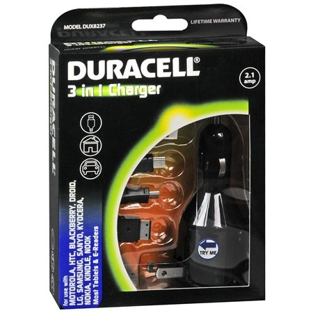 Duracell Mini and Micro USB 3-in-1 Charger - AC, Car and USB 2.1A Adapter - NEW