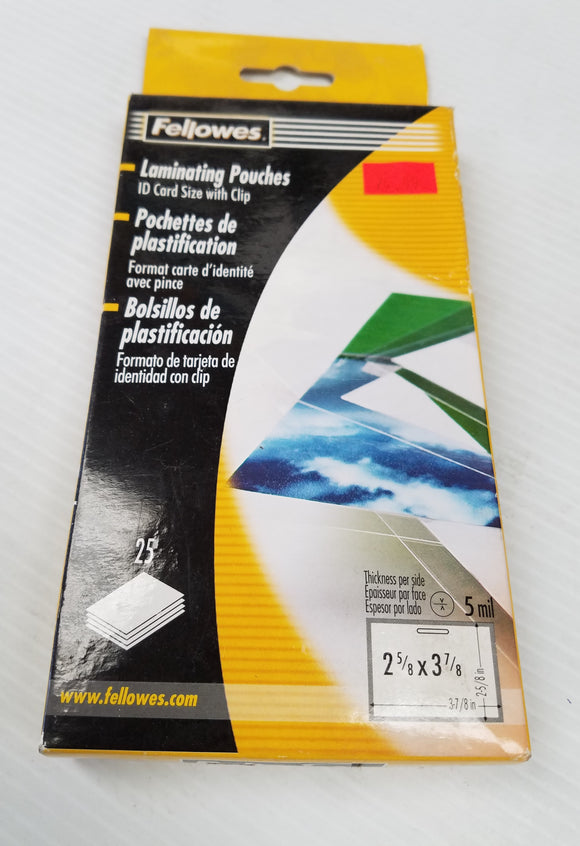 Fellowes Laminating Pouches for 25 ID Card Size with Clip - New
