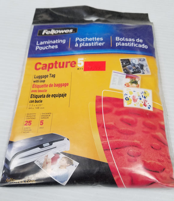 Fellowes Laminating Pouches Luggage Tags with Loop 25 sheets - New