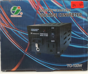 Goldsource` TC-100W Voltage Converter 220/240V to/from 110/120V, 100 Watts - NEW