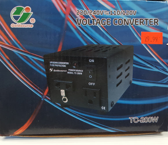 Goldsource TC-200W Voltage Converter 220/240V to/from 110/120V, 200 Watts - NEW