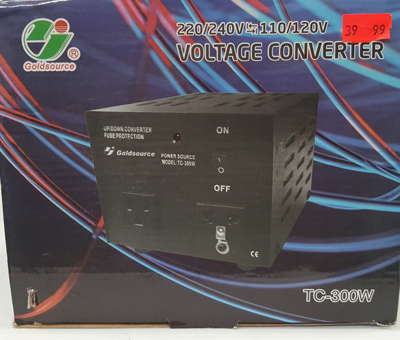 Goldsource TC-300W Voltage Converter 220/240V to/from 110/120V, 300 Watts - NEW