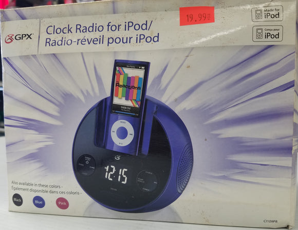 GPX Clock Radio, Speaker Dock for iPhone 4 / 4s and iPod 4, 35 pin connector - Open Box - Razzaks Computers - Great Products at Low Prices