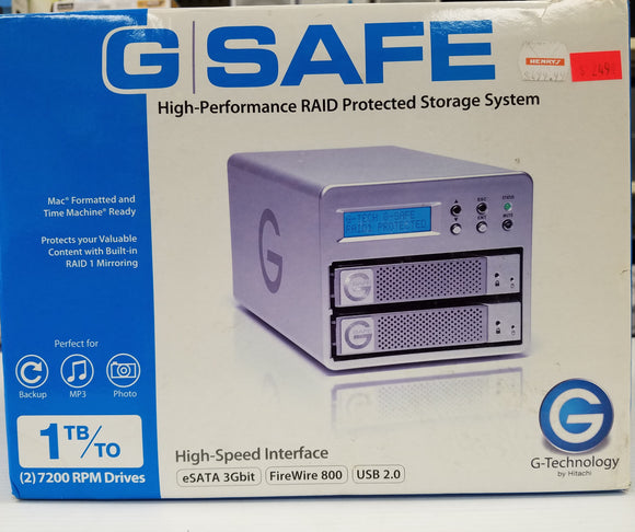 G-Safe High Performance RAID Protected Storage System SATA, USB 2.0, Firefire 800 - New