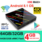 H96MAX+ Smart TV BOX 4GB+32GB Android 8.1 Quad Core 4K WiFi Set-top Box 4K 3D