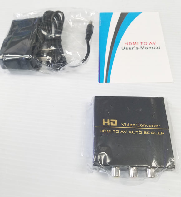 HDMI to AV Converter Adapter with 3 RCA Output to connect TV with RCA input - New