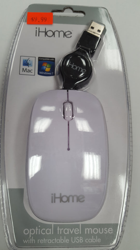 iHome Optical Travel Mousel Mouse with Retractable USB Cable - White - BRAND NEW - Razzaks Computers - Great Products at Low Prices