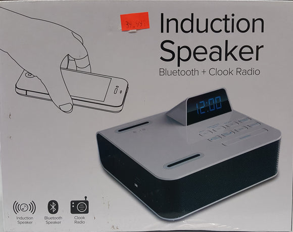 Induction Speaker, Bluetooth Speaker and Clock Radio with Charging Port  - BRAND NEW