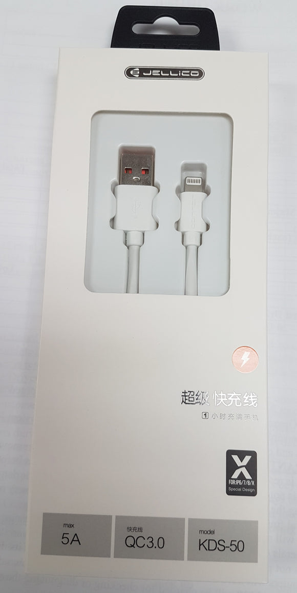 Jellico Apple Lightning to USB Fast Charging and Sync Cable for Cell Phones 1-meter 5V 5A - Razzaks Computers - Great Products at Low Prices