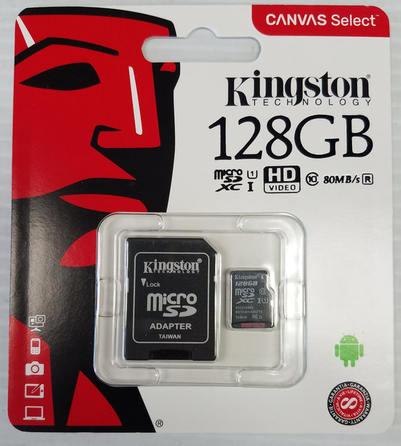Kingston Canvas Select 128GB 80MB/s MicroSD XCI Class 10 Memory Card - New