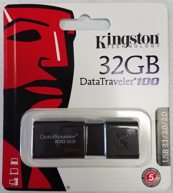 Kingston 32 GB USB Drive DataTraveler 100 DT100G3/32GBCR USB 3.1/3.0/2.0 - New - Razzaks Computers - Great Products at Low Prices