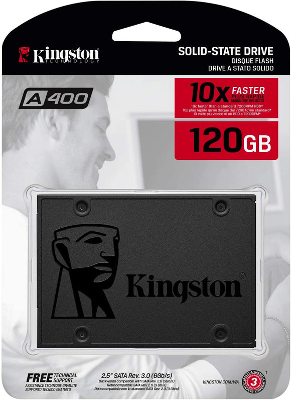 "Kingston Digital A400 SSD 120GB SATA 3 2.5"" Solid State Drive SA400S37 - New - Razzaks Computers - Great Products at Low Prices"