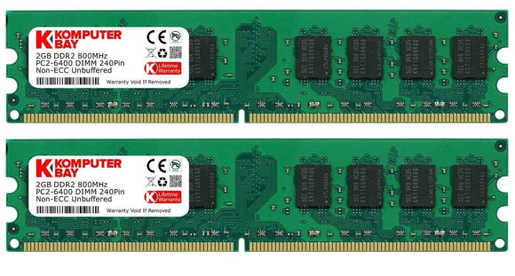 Komputerbay 4GB 2X 2GB DDR2 800MHz PC2-6300 PC2-6400 DDR2 800 (240 PIN) DIMM - Razzaks Computers - Great Products at Low Prices