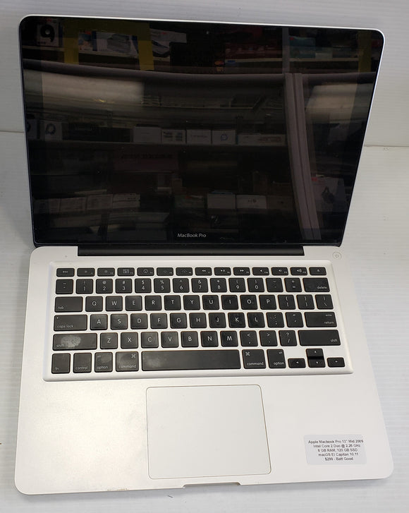 Apple Macbook Pro mid 2009, Intel Core 2 Duo 2.26 GHz, 8GB 120 SSD  - SELLER REFURBISHED