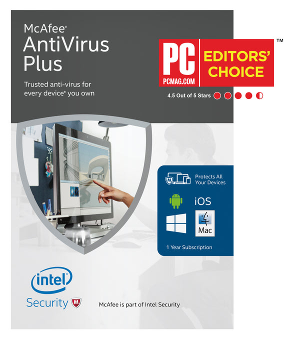 McAfee Antivirus Plus Physical Activation Card in the Box, 1-Year - English