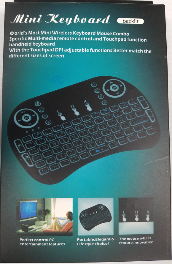 Mini Keyboard Backlit with Touchpad and Mouse Remote Control Compatible Android TV Box, Smart TV White - Razzaks Computers - Great Products at Low Prices