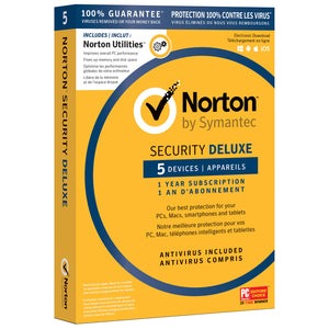 Norton Security Deluxe Utilities (PC/Mac) - 5 User - 1 Year - English