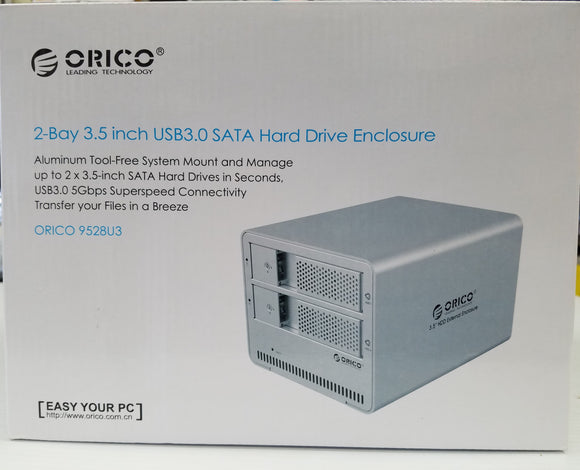 Orico 2-Bay 3.5 inch USB 3.0  5 Gbps Sata Hard Drive Aluminum Enclosure 9528u3 - New - Razzaks Computers - Great Products at Low Prices