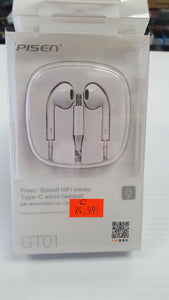 Pisen iSound HIFI stereo Type-C wired headset Model GT01 - White