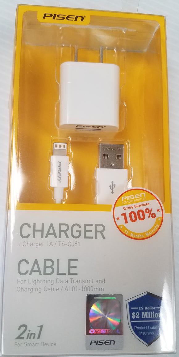 Pisen 2-in-1 TS-C051 iPhone Lightening Charger Adapter and 1000mm USB Data and Charging Cable - New