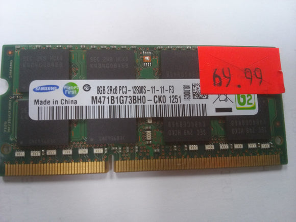 Samsung 8 GB 2RX8PC3-12800S-11-11-F3 Notebook Memory M471B1G73BH0 - Used