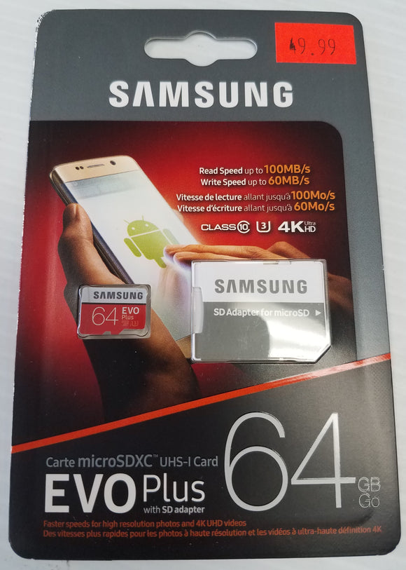 Samsung 64 GB Micro SD SDHC SDXC UHS-I Class10 Memory Card Smartphone Tablet - Razzaks Computers - Great Products at Low Prices