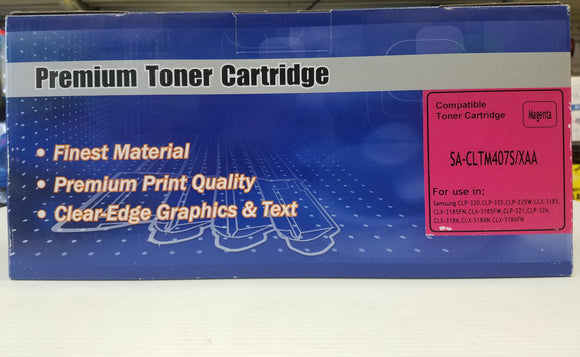 Samsung (CLT-M407S) Compatible Magenta Toner Cartridge for Samsung CLP320 - New