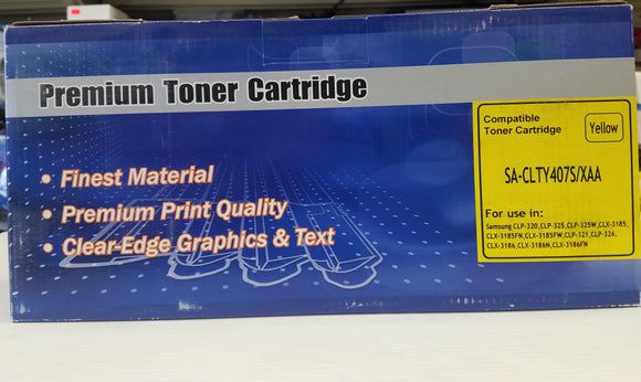 Samsung (CLT-Y407S) Compatible Yellow Toner Cartridge for Samsung CLP320 - New