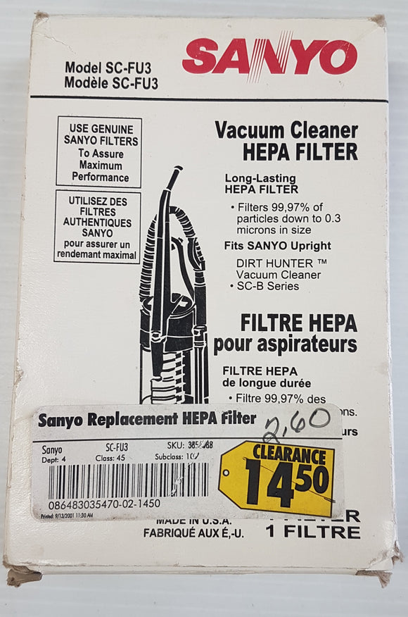 Sanyo SC-FU3 Vacuum Cleaner Hepa Filter - New - Razzaks Computers - Great Products at Low Prices