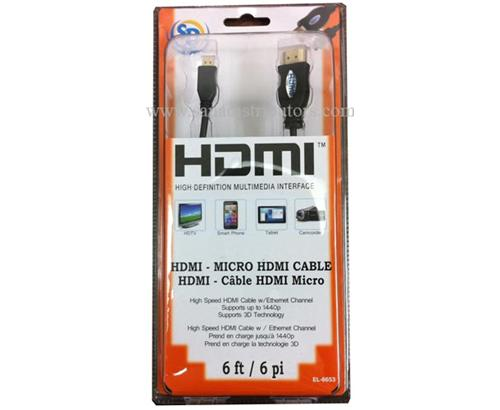 HDMI cable - Micro HDMI to HDMI 6 feet EL-6653 - New - Razzaks Computers - Great Products at Low Prices
