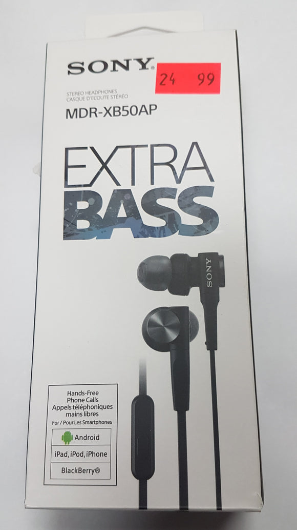 Sony in-ear Stereo Headphones MDR-XB50AP Hands Free Phone Calls - Black - Open Box - Razzaks Computers - Great Products at Low Prices