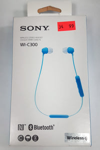 Sony WI-C300 Bluetooth Wireless In-Ear Stereo Headphones WIC300/BZ Blue - Open Box - Razzaks Computers - Great Products at Low Prices