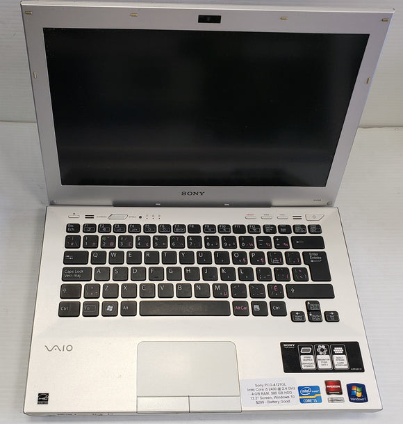 Sony PCG-4121GL 13.3 inch, Intel i5-2430 2.4 GHz, 4GB 500 HDD  - SELLER REFURBISHED