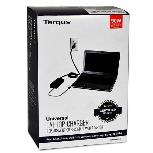 Targus APA731USO 90W Universal Notebook AC Power Adapter w/9 Power Tips - RECERTIFIED