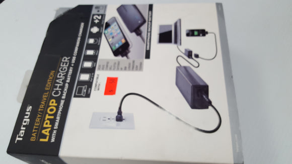 Targus Laptop Charger (AC) with Smartphone Backup Battery 90w APM035US (Black) - New