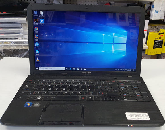 Toshiba Satellite C850 Laptop - Intel Pentium B950, @ 2.1 GHz | 4 GB DDR3, 500 GB HDD - SELLER REFURBISHED - Razzaks Computers - Great Products at Low Prices