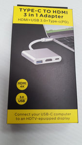 Type C to HDMI 3-in-1 Adapter - HDMI, USB 3.0 and Type C  - NEW