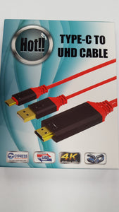 USB Type C to HDMI 2 meter UHD Cable for Type C Mobile Phones with Power - Red - BRAND NEW