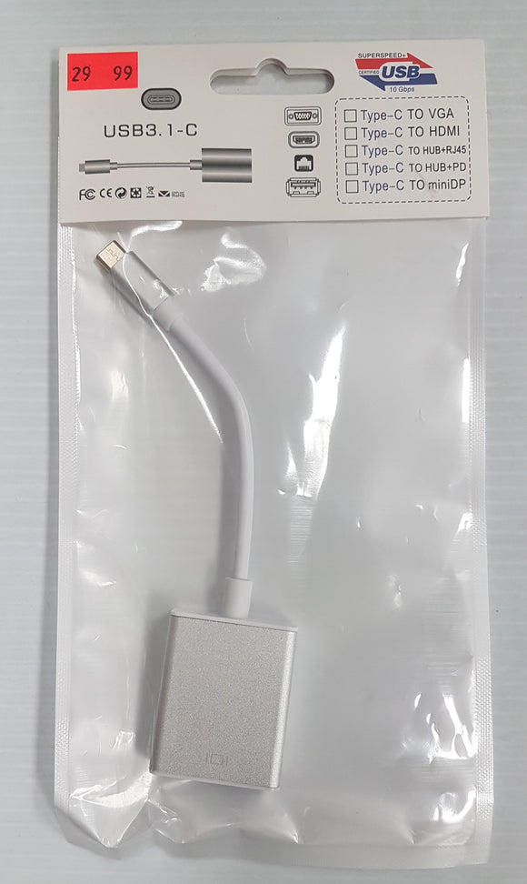 USB 3.1 Type C male to VGA female Adapter to connect LCD Monitor, TV - New - Razzaks Computers - Great Products at Low Prices