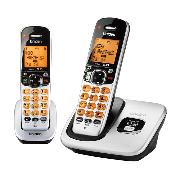 Uniden D1760-2 DECT 6.0 Expandable Cordless Phone with Caller ID, Silver, 2 Handsets - Refurbished