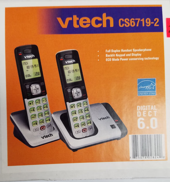 VTech CS6719-2 - 2-Handset Cordless Phone with Caller ID/Call Waiting, Silver/Black - Refurbished