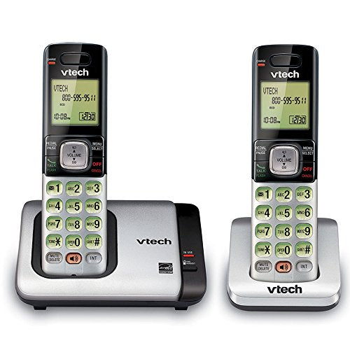 VTech CS6719-2 2 Handset Cordless Phone with Caller ID/Call Waiting, Silver/Black - Refurbished