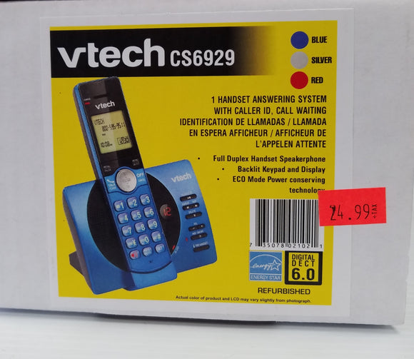 Vtech CS6929, 1 Handset Answering System with Caller ID, Call Waiting - Refurbished