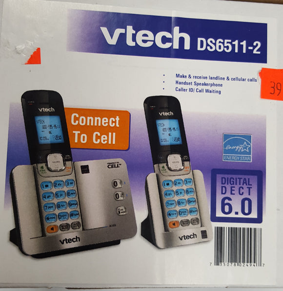 Vtech DS6511-2, 2-Handset Cordless Phone, with Speakerphones and Bluetooth - Refurbished