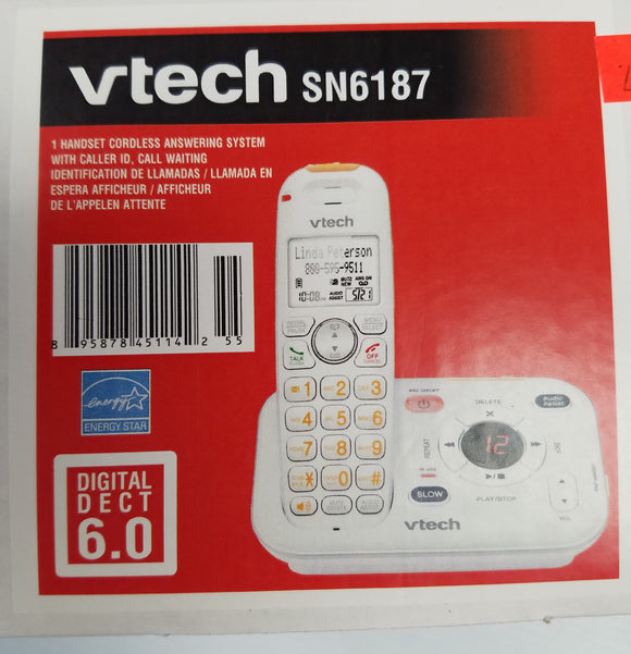 Vtech SN6187 1 Handset Dect 6.0  Coreless Answering System with Caller ID, Call Waiting - Refurbished