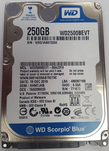"Western Digital 250GB SATA II Hard Drive WD2500BEVT 2.5""  - USED - Razzaks Computers - Great Products at Low Prices"