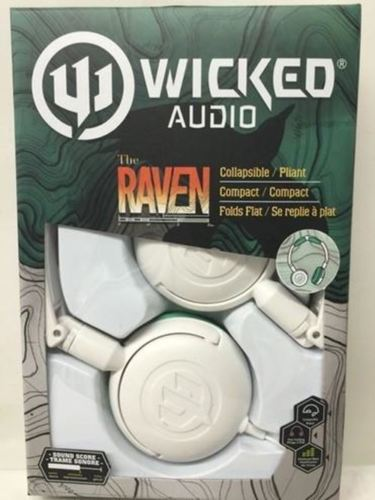Wicked Audio Raven Headphones, WI-6003-CA White/ Teal - BRAND NEW