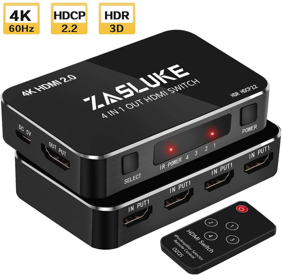 ZasLuke HDMI Switch 4 in 1 Out, HDMI 2.0 Switcher with IR Wireless Remote, Support 4K@60Hz, Full HD 1080P, HDR, HDCP 2.2 for PS4 and others - Razzaks Computers - Great Products at Low Prices