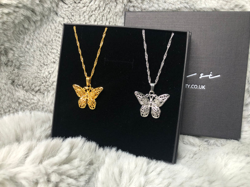 3D filled butterfly pendant